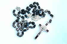 BLACK or BROWN Wood RECTANGLE ROSARY BEADS St SAINT BENEDICT CRUCIFIX CROSS BNIB