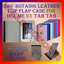 "ACM-ROTATING 360° LEATHER FLIP STAND COVER 7"" CASE for HCL ME U1 TABLET HOLDER"