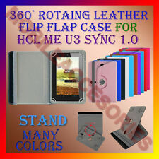 "ACM-ROTATING 360° LEATHER FLIP STAND COVER 7"" CASE for HCL ME U3 SYNC 1.0 TABLET"