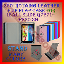 """ACM-ROTATING 360° LEATHER FLIP STAND COVER 7"""" CASE of IBALL SLIDE Q7271-IPS20 3G"""
