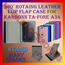 "ACM-ROTATING 360° LEATHER FLIP STAND COVER 7"" CASE for KARBONN TA-FONE A34 TAB"