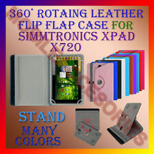 """ACM-ROTATING 360° LEATHER FLIP STAND COVER 7"""" CASE for SIMMTRONICS XPAD X720 TAB"""