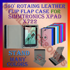 """ACM-ROTATING 360° LEATHER FLIP STAND COVER 7"""" CASE for SIMMTRONICS XPAD X722 TAB"""
