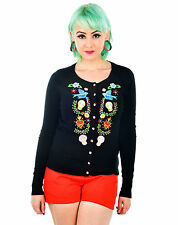 Too Fast Mexican Folk Art Floral Sugar Skull Day Of The Dead Black Cardigan