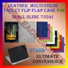 "ACM-LEATHER FLIP FLAP MULTI-COLOR 7"" COVER & STAND for IBALL SLIDE 7334I TABLET"