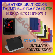 "ACM-LEATHER FLIP FLAP MULTI-COLOR 7"" COVER & STAND for IBERRY BT07I BT-07I TAB"