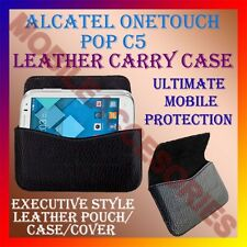 ACM-HORIZONTAL LEATHER CARRY CASE for ALCATEL ONETOUCH POP C5 MOBILE POUCH COVER