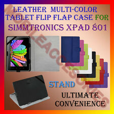 "ACM-LEATHER FLIP FLAP MULTI-COLOR 8"" COVER & STAND for SIMMTRONICS XPAD 801 TAB"