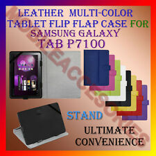 """ACM-LEATHER FLIP FLAP MULTI-COLOR 10"""" COVER & STAND for SAMSUNG TAB P7100 TAB"""