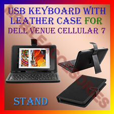"ACM-USB KEYBOARD 7"" CASE for DELL VENUE CELLULAR 7 TABLET LEATHER COVER STAND"