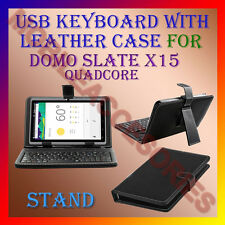 "ACM-USB KEYBOARD 7"" CASE for DOMO SLATE X15 QUADCORE TABLET LEATHER COVER STAND"