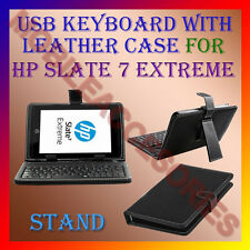 "ACM-USB KEYBOARD 7"" CASE for HP SLATE 7 EXTREME TABLET LEATHER COVER STAND NEW"