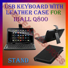 """ACM-USB KEYBOARD 7"""" CASE for IBALL Q800 TABLET LEATHER COVER STAND HOLDER FLAP"""