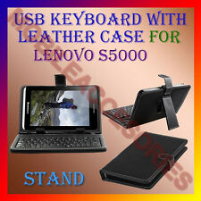 "ACM-USB KEYBOARD 7"" CASE for LENOVO S5000 TABLET LEATHER COVER STAND HOLDER NEW"