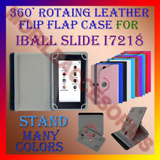 "ACM-ROTATING 360° LEATHER FLIP STAND COVER 7"" CASE for IBALL SLIDE I7218 TABLET"