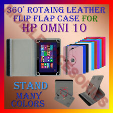"ACM-ROTATING 360° LEATHER FLIP STAND COVER 10"" CASE for HP OMNI 10 TABLET HOLDER"