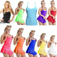 Women's Ladies Kid's Stretchy Vest Top Racer Back Party Dance Wear Fancy Dress