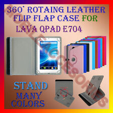 """ACM-ROTATING 360° LEATHER FLIP STAND COVER 7"""" CASE for LAVA QPAD E704 TABLET TAB"""