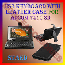 "ACM-USB KEYBOARD 7"" CASE for ADCOM 741C 3D TABLET LEATHER COVER STAND HOLDER NEW"