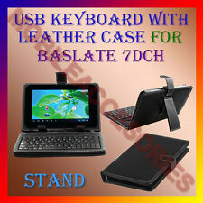 """ACM-USB KEYBOARD 7"""" CASE for BASLATE 7DCH TABLET LEATHER COVER STAND HOLDER NEW"""