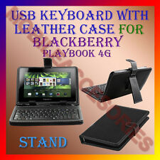 """ACM-USB KEYBOARD 7"""" CASE for BLACKBERRY PLAYBOOK 4G TABLET LEATHER COVER STAND"""
