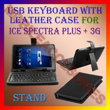 "ACM-USB KEYBOARD 7"" CASE for ICE SPECTRA PLUS + 3G TABLET LEATHER COVER STAND"