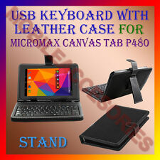"ACM-USB KEYBOARD 7"" CASE for MICROMAX CANVAS TAB P480 TABLET LEATHER COVER STAND"