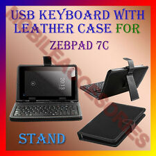 "ACM-USB KEYBOARD 7"" CASE for ZEBPAD 7C TABLET LEATHER COVER STAND HOLDER PREMIUM"
