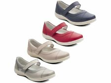 Padders DENISE Womens Ladies Extra Super Wide Velcro Padded Flat Mary Jane Shoes
