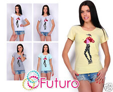 Cotton T-Shirt With Sequins Scoop Neck Short Sleeve Party Top Size 8-12 FT1748