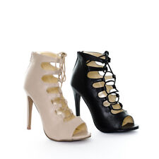 Women's Lace Up Strappy Cage Gladiator Peep Toe Stiletto High Heels Ladies Shoes