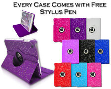 360° Rotating Bling Smart Stand Leather Pu Case Cover For Apple iPad 6 Air 2 UK