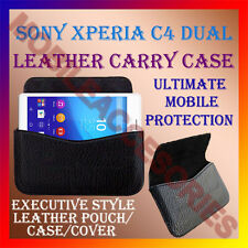 ACM-HORIZONTAL LEATHER CARRY CASE for SONY XPERIA C4 DUAL MOBILE COVER POUCH NEW