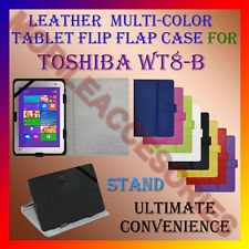 "ACM-LEATHER FLIP MULTI-COLOR 8"" COVER CASE STAND for TOSHIBA WT8-B TABLET HOLDER"