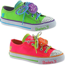 GIRLS SKECHERS TUFF N TINY SHUFFLES SHOES TRAINERS SIZE UK 10-4 LIME NEON 83558