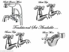 Traditional Style Chrome Bathroom Sink Basin Mixer Bath Fill Shower Tap STERLING