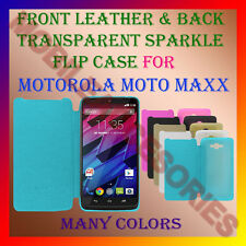 ACM-FRONT LEATHER & BACK TRANSPARENT SPARKLE FLIP CASE MOTOROLA MOTO MAXX COVER