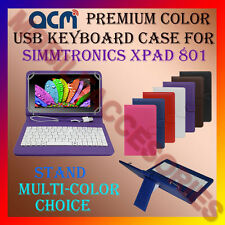 """ACM-USB COLOR KEYBOARD 8"""" CASE for SIMMTRONICS XPAD 801 TAB LEATHER COVER STAND"""