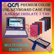 "ACM-USB COLOR KEYBOARD 7"" CASE for AAKASH UBISLATE 7 TABLET LEATHER COVER STAND"