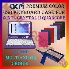 """ACM-USB COLOR KEYBOARD 7"""" CASE for AINOL CRYSTAL II QUADCORE LEATHER COVER STAND"""