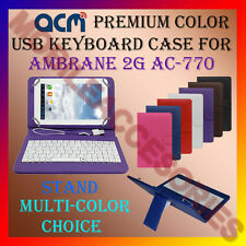 "ACM-USB COLOR KEYBOARD 7"" CASE for AMBRANE 2G AC-770 TABLET LEATHER COVER STAND"