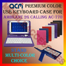 "ACM-USB COLOR KEYBOARD 7"" CASE for AMBRANE 2G CALLING AC-770 LEATHER COVER STAND"