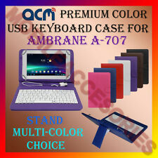 "ACM-USB COLOR KEYBOARD 7"" CASE for AMBRANE A-707 TABLET  LEATHER COVER STAND NEW"