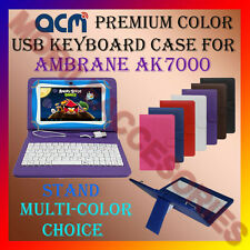 """ACM-USB COLOR KEYBOARD 7"""" CASE for AMBRANE AK7000 TABLET  LEATHER COVER STAND"""