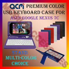 """ACM-USB COLOR KEYBOARD 7"""" CASE for ASUS GOOGLE NEXUS 7C TAB LEATHER COVER STAND"""