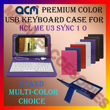 """ACM-USB COLOR KEYBOARD 7"""" CASE for HCL ME U3 SYNC 1.0 TABLET LEATHER COVER STAND"""