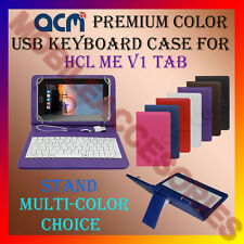 "ACM-USB COLOR KEYBOARD 7"" CASE for HCL ME V1 TABLET LEATHER COVER STAND FLIP TAB"