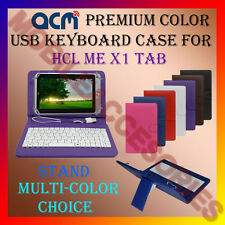 """ACM-USB COLOR KEYBOARD 7"""" CASE for HCL ME X1 TABLET LEATHER COVER STAND FLIP TAB"""