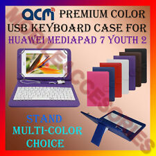 """ACM-USB COLOR KEYBOARD 7"""" CASE for HUAWEI MEDIAPAD 7 YOUTH 2 LEATHER COVER STAND"""