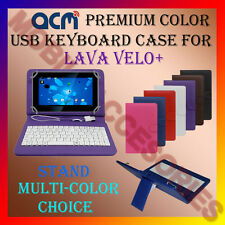 "ACM-USB COLOR KEYBOARD 7"" CASE for LAVA VELO+ TABLET LEATHER COVER STAND FLIP"